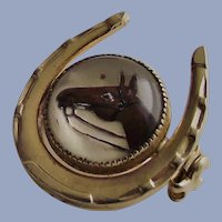 Horse Shoe with Essex Style Horse Painting Brooch