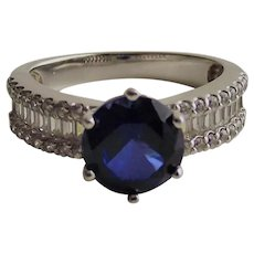 Stunning Sapphire 1 Ct.CZ Ring with Clear Baguettes and Rounds in Sterling