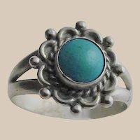 Sterling and Turquoise South Western Ring