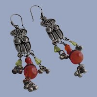 Afghan Silver and Carnelian Earrings