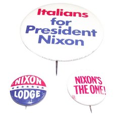 Three Piece Richard Nixon Pinback Buttons