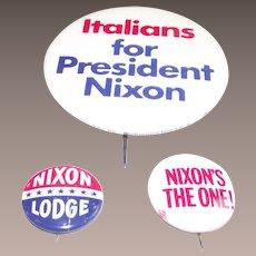 Three Piece Richard Nixon Pinback Buttons