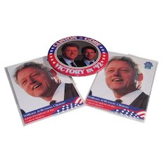 Clinton - Gore 1992 Campaign Pinback and Presidential Cards