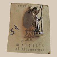 Vintage Maisel's of Albuquerque Sterling Charm King of Hawaii Kamehameha Original Store Card