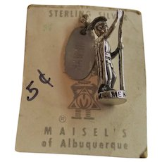 Vintage Maisel's of Albuquerque Sterling Charm King of Hawaii Kamehameha Original Store Card