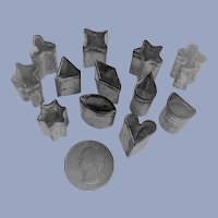 Tiny Miniature Doll Cookie Cutters Tin Marked Italy