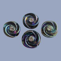 Four Matching Carnival glass Buttons with Rhinestone Centers