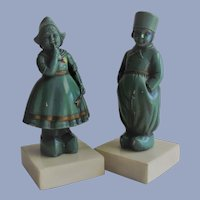 Bookends Dutch Children Chalkware on Marble Bases