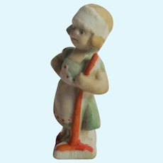 Tiny German Bisque Statue Little Girl Chambermaid