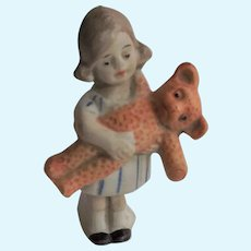 Tiny German Bisque Statue Little Girl with Teddy Bear