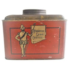Ponce De Leon Coffee Tin  circa 1920s