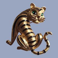 Trifari Gold Tone Tiger Brooch Black Enamel Stripes and Green Eyes
