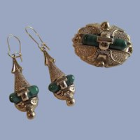 Stunning 1860s-1880s Brooch and Matching Earrings with Malachite Stones