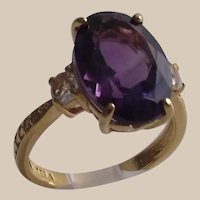 African Amethyst Ring 6Ct Oval set in 18Kt Gold over Sterling