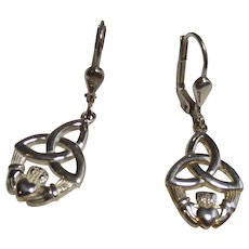 Sterling Celtic Claddagh Earrings Lever backs