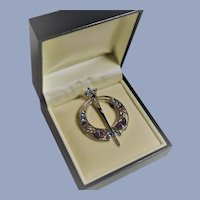 Vintage Sol D'Or Irish Annular Brooch - Silver with Colored Stones
