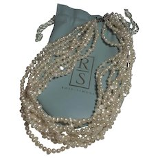Vintage Eight Strand Baroque Seed Pearl Necklace by Ross Simons