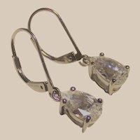 Pear Cut 2ct CZ Leaver Back Earrings in Sterling
