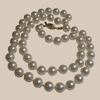 Nineteen Inch Strand White Glass Pearls