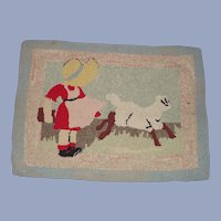 MAry Had a Little Lamb Hand Hooked Rug 1930s – 40s