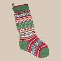 Garnet Hill Faire Isle Wool Christmas Stocking