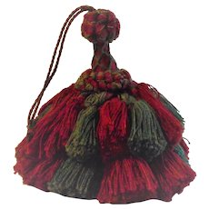 Multi-Layered Large Key Tassel Red and Green