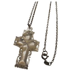 Mother of Pearl Cross from Bethlehem, Hold Land with Sterling Chain