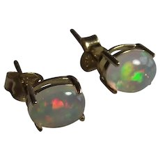 Opal Stud Earrings 18Kt Yellow Gold over Sterling
