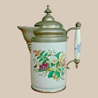 Large Antique Pewter Enamel Ware Coffee Pot Floral Calla Lily - Circa 1850s – 1890s