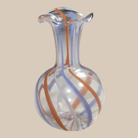 Tiny Ribbon Glass Vase for a Doll House - German - Czech  One and One Half Inches
