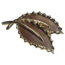Sarah Coventry Wooded Beauty 1968 Leaf Pin Brooch