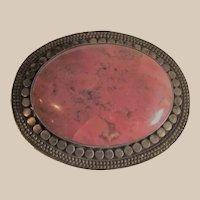 Vintage Sterling Brooch with Pink Rhodonite Stone