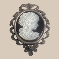 Vintage Sterling Silver Mother of Pearl Cameo on Onyx Brooch or Pendant