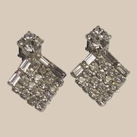 Clear Rhinestone Clip on Earrings Rounds and Baguettes