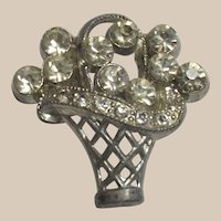 Art Deco Flower Basket Rhinestone Brooch
