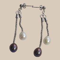 Black and White Tear Drop Fresh Water Pearl Drop Earrings