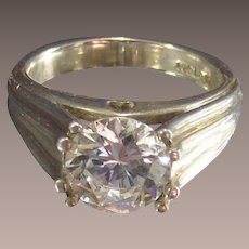 Vintage Sterling Ring with Large Clear CZ Heart on Bridge of the Setting