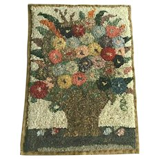 Vintage Latch Hooked Rug Flower Basket Full of Roses