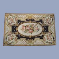 Hand Made Needle Point Rug with Pink Roses - Fantastic for Cottage Styling