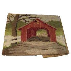 Small Needlepoint Covered Bridge Scene