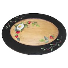 Beautiful Hand Painted Tole Tray Strawberries