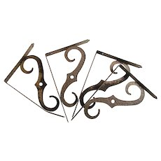 Vintage Two Sets Copper Coat Cast Metal Hammered Look Large Shelf Brackets