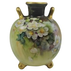 Limoges Hand Painted Rose Bud Vase Artist Signed VERY SMALL