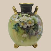 Tiny - Limoges Hand Painted Rose Bud Vase Artist Signed VERY SMALL
