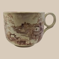 Brown and White Transferware Grand Fathers Cup – Cows