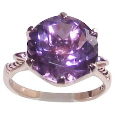 Rose D' France Amethyst Five Ct. Round Stone Ring size Seven