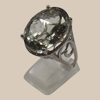 Eighteen & One Quarter Ct Prasiolite Ring with Halo of Clear Zircons set in Rhodium over Sterling Silver