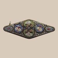 Early Italian Micro Mosaic Brooch with Tiny Tiles