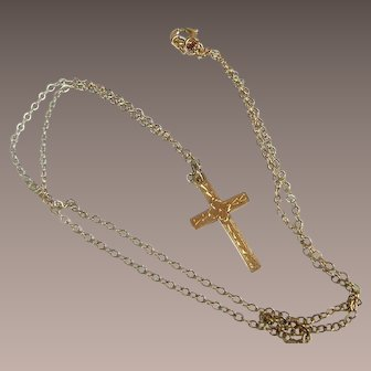 Vintage 10Kt Yellow Gold Cross with Gold Fill Chain