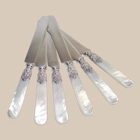 Landers Frary and Clark Six Piece Mother of Pearl Handle Luncheon Knives With Sterling Stunning Ferrels